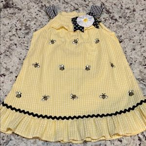 Emily Rose size 3T girls yellow gingham bee dress